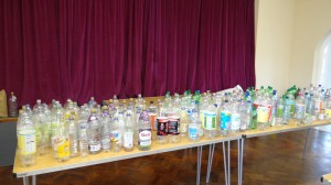 The bottles before being transformed into flowers